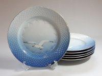 ビングオーグレンダール B&G プレート■シーガル ディナープレート 大皿 金彩 カモメ 6枚セット 1級品 2