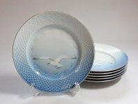 ビングオーグレンダール B&G プレート■シーガル ランチプレート 皿 金彩 カモメ 6枚セット 1級品 2
