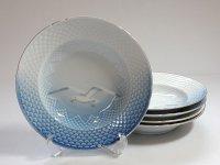 ビングオーグレンダール B&G プレート■シーガル スーププレート 皿 金彩 カモメ 5枚セット 1級品