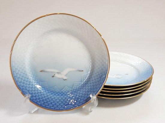 ロイヤルコペンハーゲン プレート■シーガル サラダプレート 金彩 カモメ 6枚セット 1級品 1