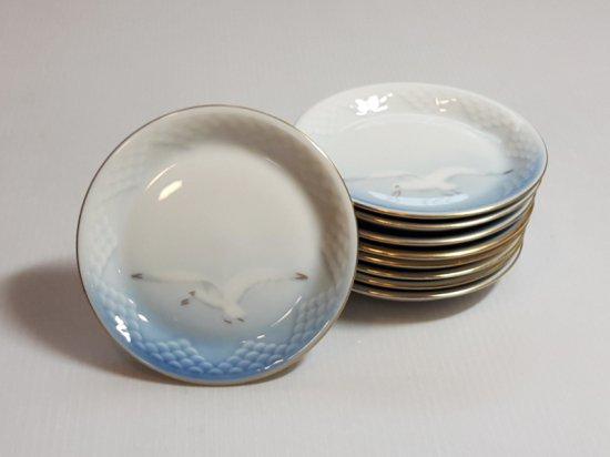 ビングオーグレンダール B&G プレート■シーガル バタープレート 小皿 金彩 カモメ 9枚セット