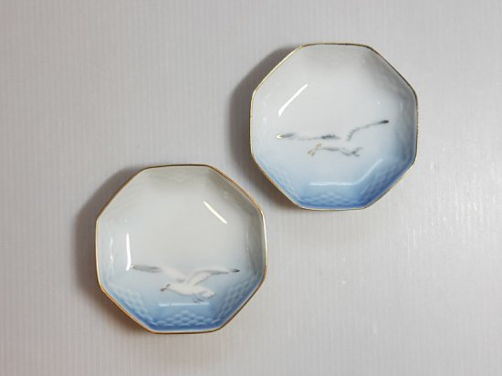 ビングオーグレンダール B&G プレート■シーガル バタープレート 小皿 六角形金彩 カモメ 2枚セット 1級品