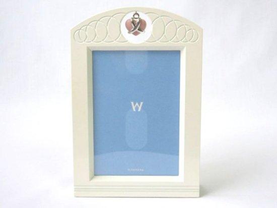 ウェッジウッド フォトフレーム ■ ハート チャーム ピクチャーフレーム ホワイト クリスタル 写真立て 美品 2