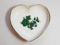 アウガルテン プレート■マリアテレジア グリーン ハート型プレート 皿 1枚 薔薇 バラ 1級品 美品