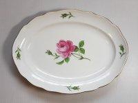 マイセン プレート■ピンクローズ ピンクのバラ オーバルプレート 大皿 楕円 1枚 薔薇