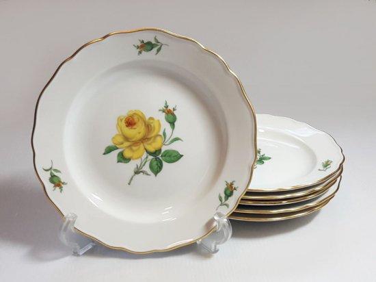 マイセン プレート■イエローローズ サラダプレート 6枚セット バラ 薔薇 皿 Meissen