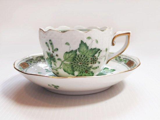ヘレンド カップ&ソーサー■インドの華 グリーンコーヒー C&S 1客 1級品 1