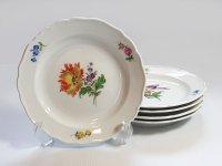 マイセン プレート■ベーシックフラワー ブーケ 二つ花 サラダプレート 皿 5枚セット Meissen 1級品 1
