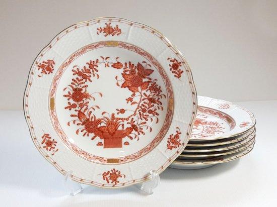 ヘレンド プレート■インドの華 オレンジ スーププレート 6枚セット 皿 HEREND 1級品