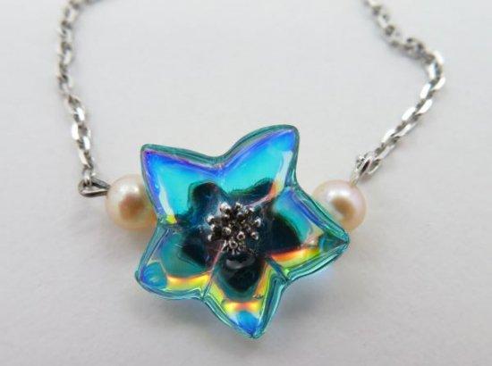 バカラ ブレスレット ● ブロッサム イリゼ ターコイズ シルバー 銀 花 フラワー ブルー 虹 水色 Blossom