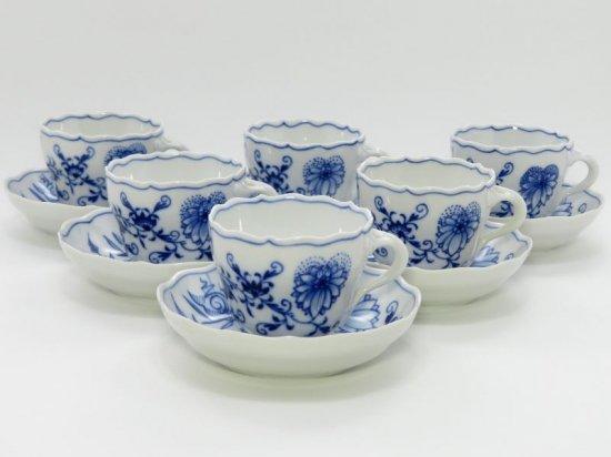 マイセン カップ&ソーサー■ブルーオニオン デミタスC&S 6客セット Meissen 1級 美品