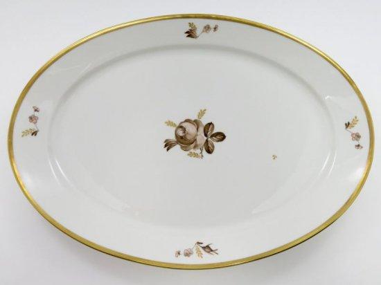 ロイヤルコペンハーゲン トレイ■ブラウンローズ オーバル サービングプレート 26.5cm 楕円 大皿 バラ 1級品