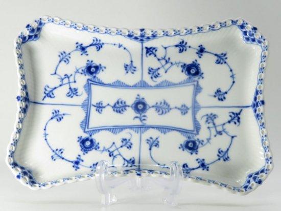 ロイヤルコペンハーゲン プレート■ブルーフルーテッド フルレース スクエアプレート 1枚 皿 四角形 1級 美品