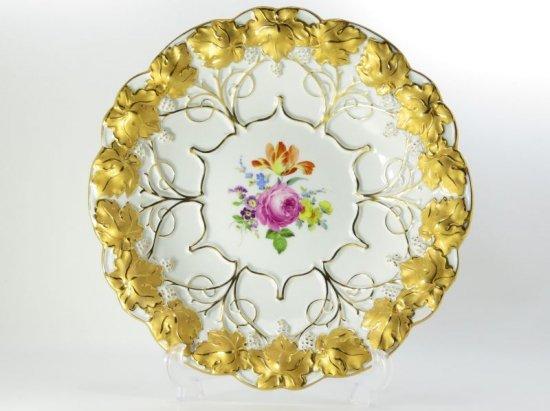 マイセン プレート■ベーシックフラワー ブーケ 五つ花 サービングプレート 金彩 飾り皿 大皿 Meissen