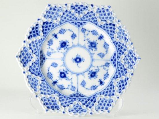 ロイヤルコペンハーゲン プレート■ブルーフルーテッド ダブルフルレース サラダ皿 透かし 1枚 1級 美品 1