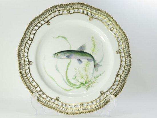 ロイヤルコペンハーゲン プレート■フローラダニカ ディナープレート 大皿 透かし 金彩 1枚 魚 フィッシュ 1級品