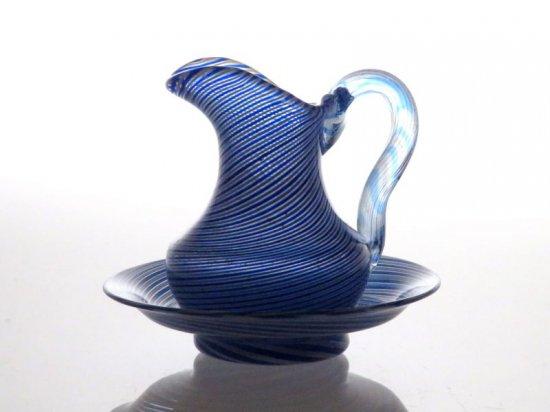 オールド サンルイ クリーマー ● ミルク ピッチャー & ソーサー ミルク差し 皿 ブルー 青 希少 クリスタル