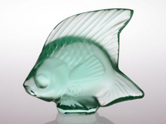 ラリック フィギュリン ● ポワソン エメラルド グリーン 魚 オブジェ オーナメント 5cm 緑色 クリスタル 置物