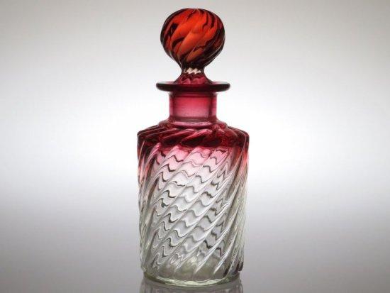 オールド バカラ 香水瓶 ● バンブーローズ パフュームボトル 18cm 円柱 アンティーク 少し訳あり Bambou
