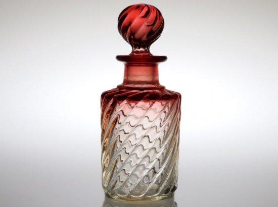 オールド バカラ 香水瓶 ● バンブーローズ パフュームボトル 14.5cm 円柱 アンティーク 少し訳あり Bambou