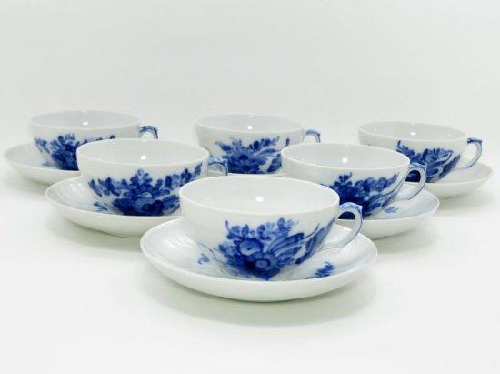 ロイヤルコペンハーゲン カップ&ソーサー■ブルーフラワー カーブ ティー C&S 6客 セット 1級品