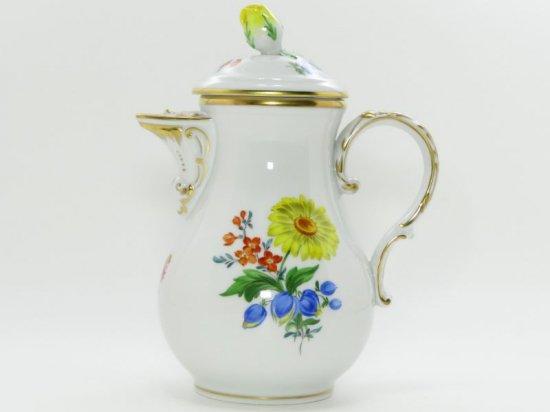マイセン ポット■ベーシックフラワー ブーケ 三つ花 デミタスコーヒーポット 1個 Meissen 1級品
