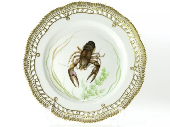 ロイヤルコペンハーゲン プレート■ファウナダニカ フローラダニカ ディナープレート 大皿 透かし 金彩 1枚 ザリガニ 1級品