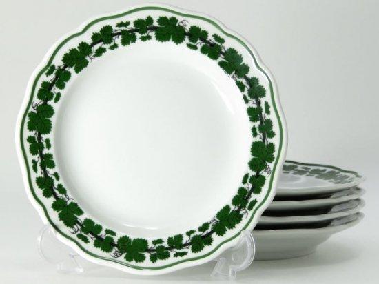 マイセン プレート■ヴァインリーフ ワインリーフ 葡萄の葉 グリーン デザートプレート 皿 5枚セット Meissen 1級品