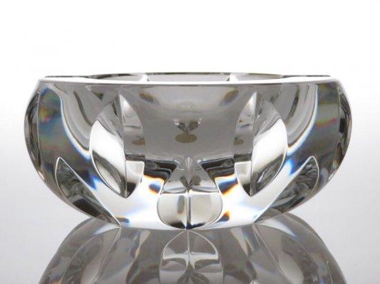 バカラ 灰皿 ● アッシュトレイ クリスタル 重厚 ヴィンテージ リーフカット 葉っぱ 丸形 直径10cm