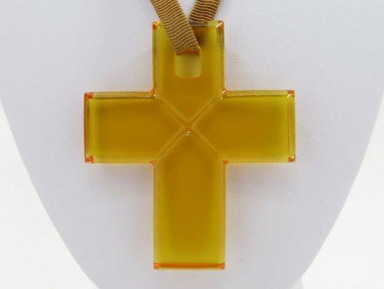 バカラ ネックレス ● クロス 十字架 黄色 イエロー ペンダント ビジュー ビジュウ チョーカー ローマンクロス 袋付 箱付
