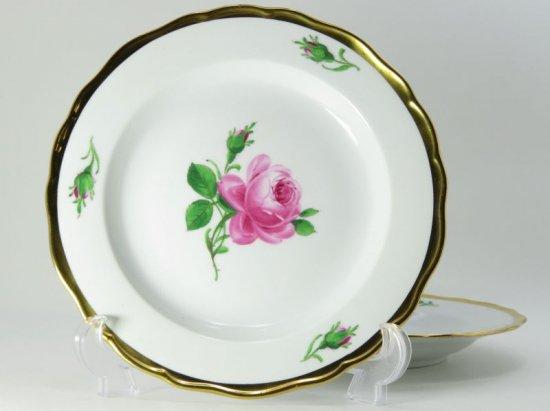 マイセン プレート■ピンクローズ ピンクのバラ サラダ プレート 皿 2枚セット 少し訳あり Meissen 薔薇