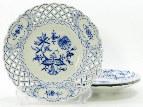 マイセン プレート■ブルーオニオン ランチプレート 透かし 皿 3枚セット Meissen 1級品