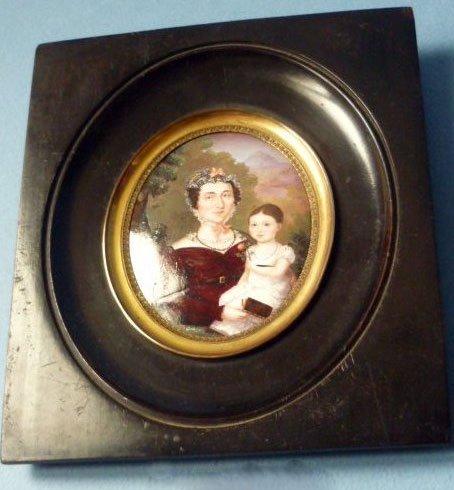 アンティーク ミニチュア ポートレート 母とバラを持つ娘 1800 - 1850