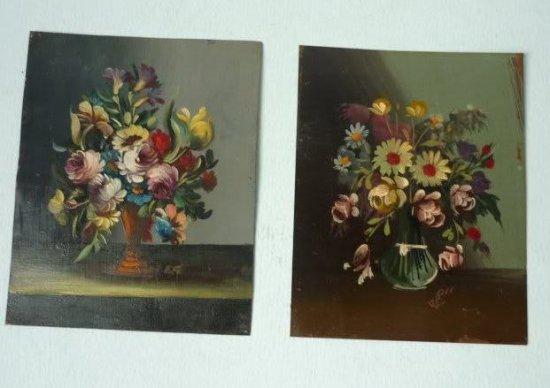 花 ミニチュア オイル ペインティング 油絵 2枚 E.Sのサインあり 1920年