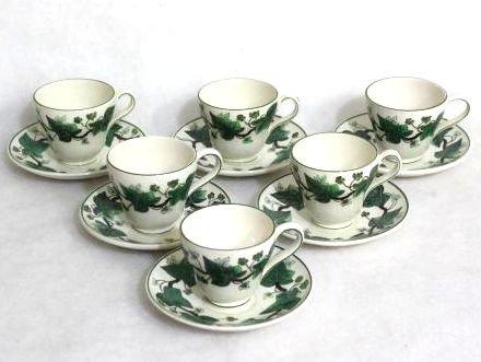 ウェッジウッド コーヒー カップ&ソーサー ● ナポレオン アイビー 5客セット 1級品