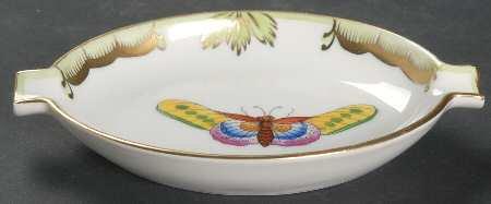 ヘレンド 灰皿 ビクトリア クイーン (グリーンボーダー) アッシュトレイ オーバル型 9