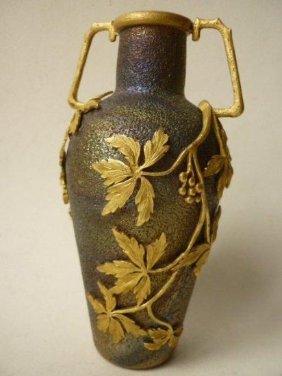 アールヌーボー 花瓶 色ガラス ベース 虹彩 イリデッセント アート 壺 ギルトブロンズ 彫刻 A BEAUDOUIN