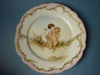 セーブル プレート ハンドペイント 二人の天使 金彩 Elliac アンティーク 19世紀