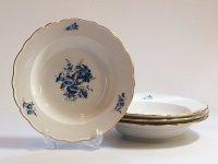 マイセン プレート■ブルーフラワー スーププレート 皿 4枚 青い花と昆虫 金彩 Meissen 1