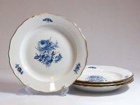 マイセン プレート■ブルーフラワー ディナープレート 皿 4枚 青い花と昆虫 金彩 Meissen 1