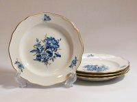 マイセン プレート■ブルーフラワー デザートプレート 皿 4枚 青い花と昆虫 金彩 Meissen 1