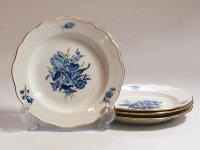 マイセン プレート■ブルーフラワー デザートプレート 皿 4枚 青い花と昆虫 金彩 Meissen 2