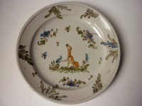 アンティーク フレンチ 犬 プレート 皿 ドッグ 草原 18世紀