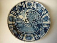 アンティーク デルフト焼 プレート 皿 飾り皿 孔雀 18世紀