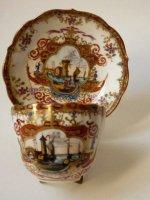 アンティーク マイセン カップ アンド ソーサー 金彩 帆船 ヨット 海 カモメ 波止場 風景 1850-1870年