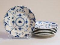 ロイヤルコペンハーゲン プレート■ブルーフルーテッド フルレース ランチプレート 6枚セット 皿 1級品