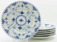 ロイヤルコペンハーゲン プレート■ブルーフルーテッド フルレース ランチプレート 6枚セット 皿 1級 1