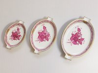 ヘレンド アシュトレイ■アポニー ピンク 灰皿 大中小 3枚セット インドの華 HEREND 1級品