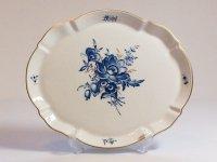 マイセン トレイ■ブルーフラワー オーバルプレート 大皿 楕円 青い花と昆虫 金彩 Meissen 1級品