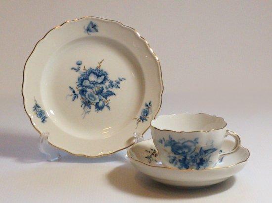 マイセン カップ&ソーサー プレート■ブルーフラワー C&S サラダ 皿 1組 トリオ 青い花と昆虫 金彩 1級 2